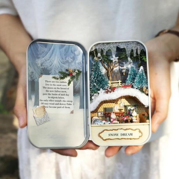 Box-Theatre-3-Style-For-t-Rhapsody-Aventures-le-Neige-R-ve-Creative-Cadeau-DIY-Mini